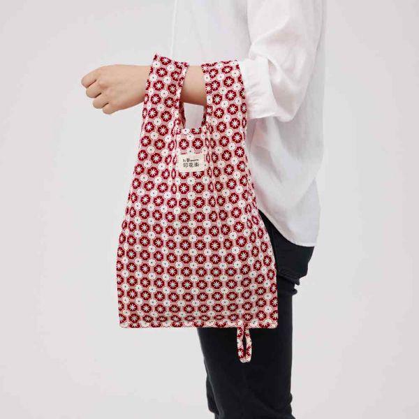 可收捲小背心袋/老磁磚2號/玫瑰紅色 手提袋, 背心袋, 購物袋