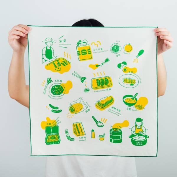 包布巾/雜花/台灣早餐綠色 布巾, 包巾, 手帕