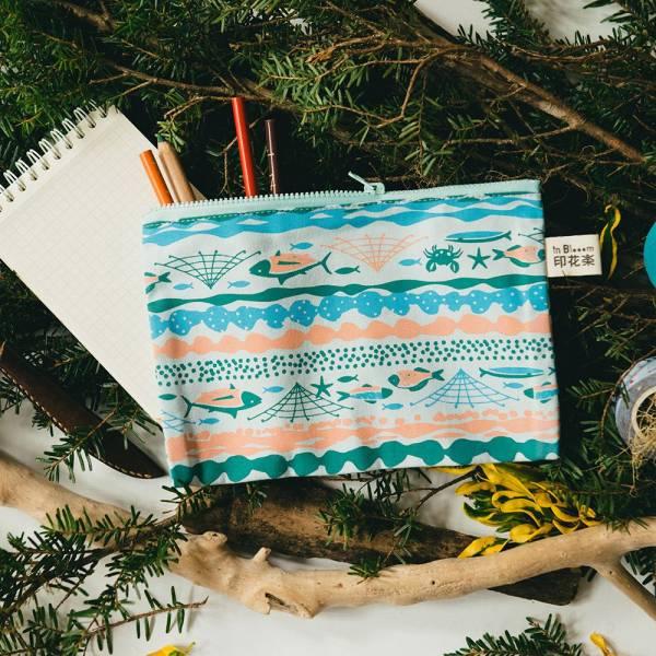 拉鏈文具袋-L14/海的寶物_魚群/淺水藍 筆袋, 收納包, 文具袋, 化妝包, 盥洗包