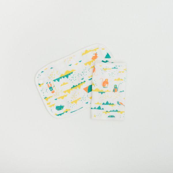 寶寶背帶口水巾二入組/山中健行/粉彩橘綠 口水巾, 背帶口水巾