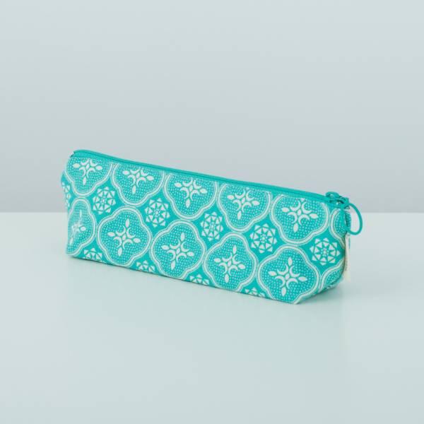 拉鏈筆袋/玻璃海棠/冰晶藍綠 文具,筆袋