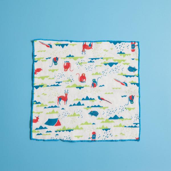 紗布方塊巾/山中健行/活力紅藍 小方巾, 口水巾