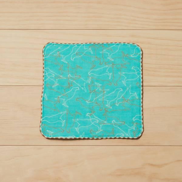 和風雙層小方巾/台灣八哥/冰湖藍 毛巾, 手帕, 方巾
