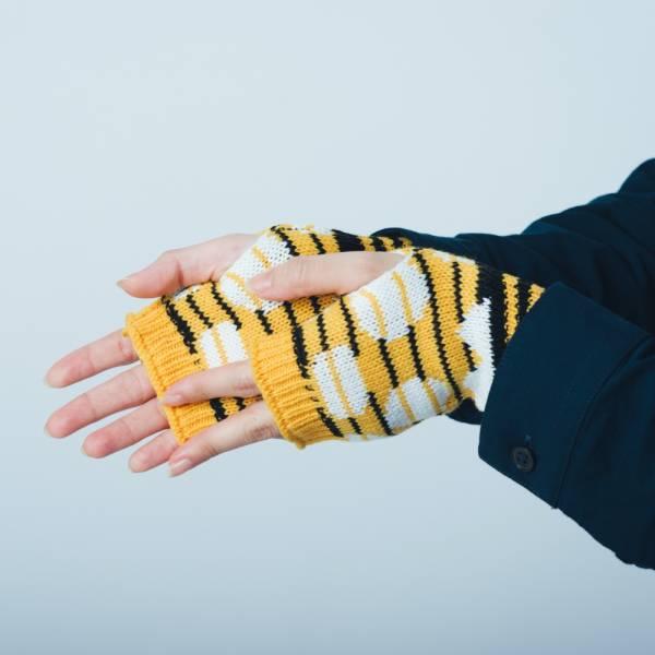 緹花無指手套/印花樂 x Yu Square/圓點黃黑 針織手套, 半指手套, 露指手套, 保暖手套