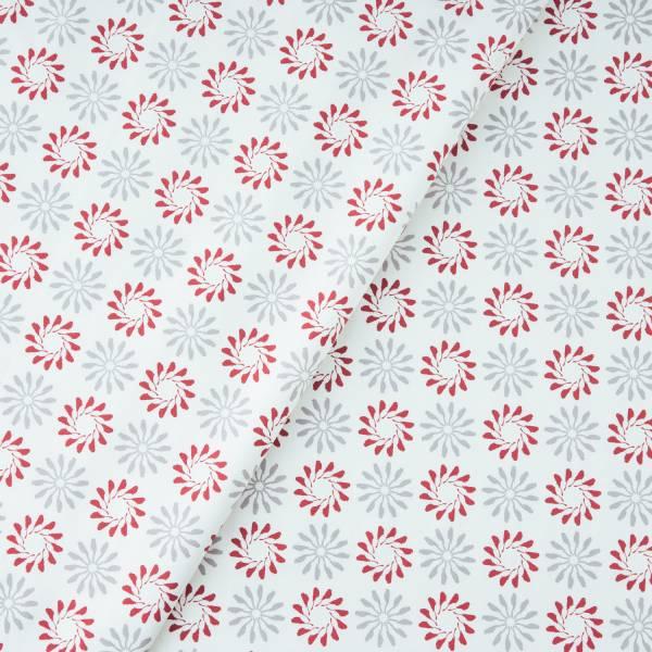 手印棉帆布(滿花)-250g/y/烏秋圈圈/摩登紅灰 布料, 棉帆布, 手作材料