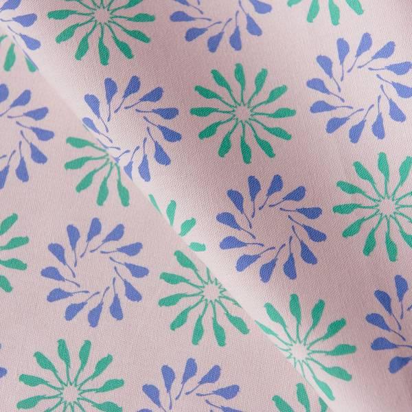 手印棉帆布-250g/y/烏秋圈圈/柔和紫綠 布料, 棉帆布, 手作材料