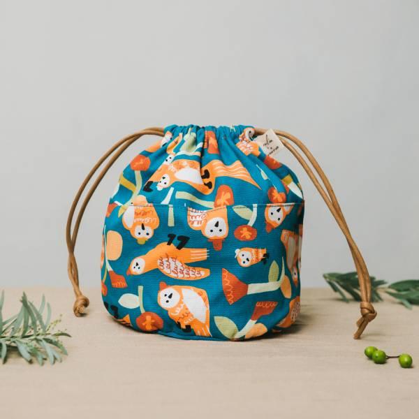 球型束口袋/藝術家聯名/印花樂 x UULIN/貓頭鷹與花/橘藍 束口袋, 收納袋