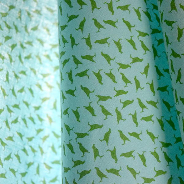 寬幅平織印花棉布/台灣八哥4號/薄荷藍綠 布料, 棉布, 手作材料