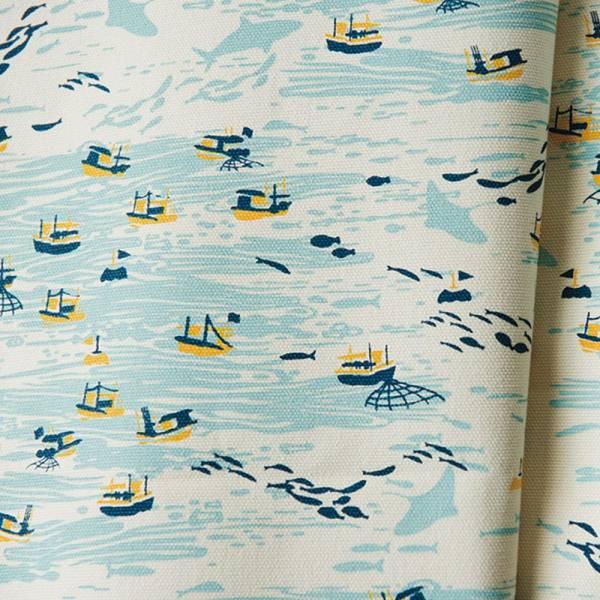 手印棉帆布-400g/y/海的寶物_漁船/淺米黃 布料, 棉帆布, 手作材料