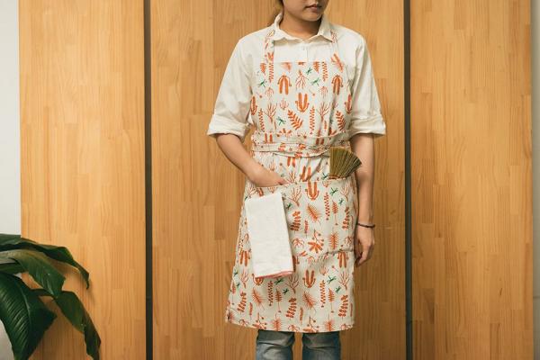 全身/半身兩用圍裙/野花草與蜻蜓/磚橘紅色 圍裙