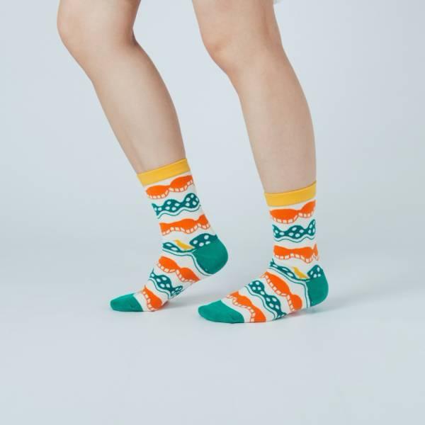 緹花中筒襪/印花樂 x Yu Square/浪花橘白綠 針織襪, 中筒襪, 台灣襪子