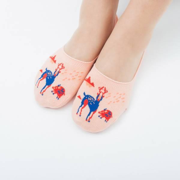 緹花踝襪/山中健行/花卉藍紅 襪子, 踝襪, 緹花襪