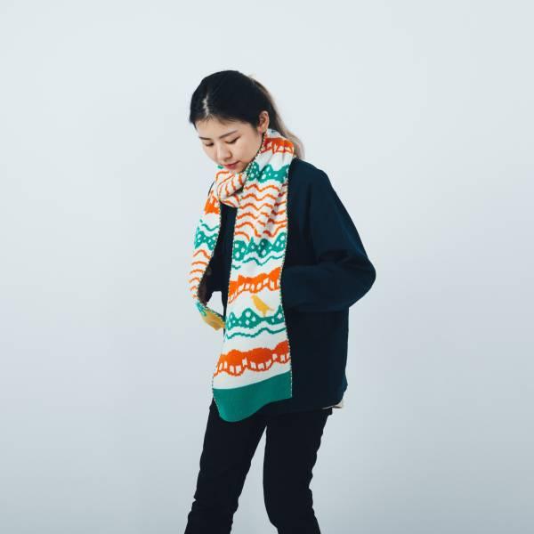 緹花圍巾/印花樂 x Yu Square/浪花橘白綠 圍巾, 針織圍巾