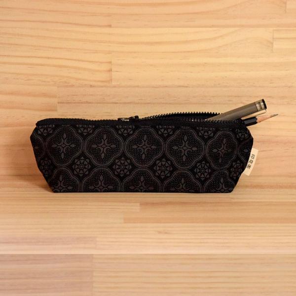 拉鏈筆袋/玻璃海棠/紳士黑色 筆袋, 文具袋