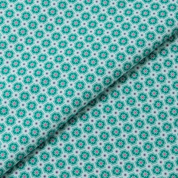 手印棉帆布(滿花)-400g/y/老磁磚2號/瓷藍綠