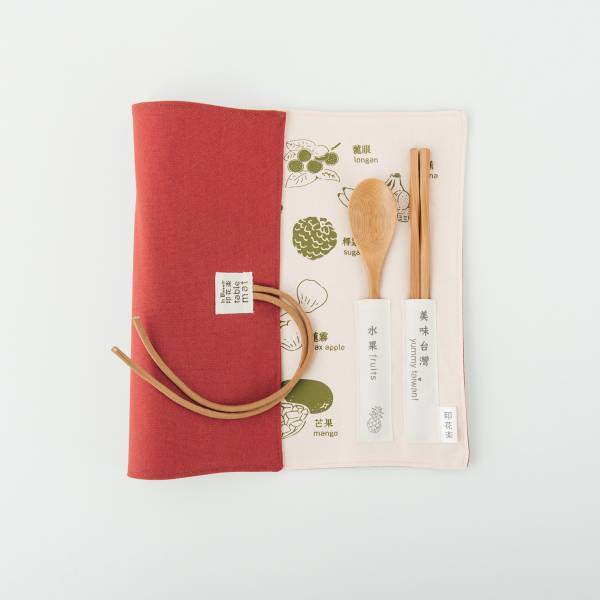 餐墊(含餐具)/美味台灣_水果/杏綠色 餐墊