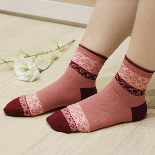 印花樂厚短襪-舊花磚1號/摩卡紅 襪子, 短襪