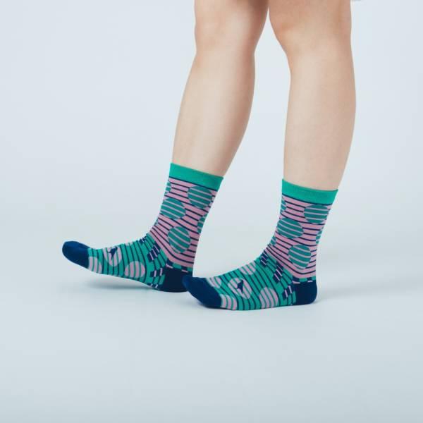緹花中筒襪/印花樂 x Yu Square/圓點紫綠 針織襪, 中筒襪, 台灣襪子
