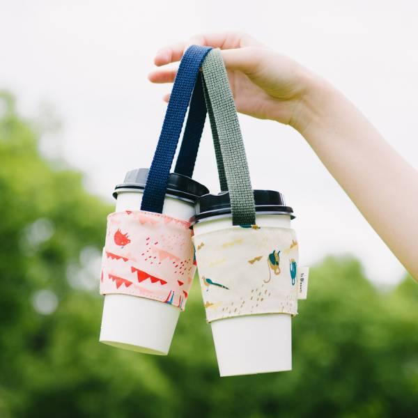 【有機棉】飲料杯提帶兩件組/山中健行/風土黃褐+花卉藍紅 飲料提袋