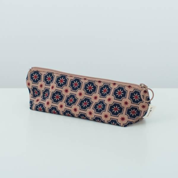 拉鏈筆袋/老磁磚2號/古董藍褐 文具,筆袋