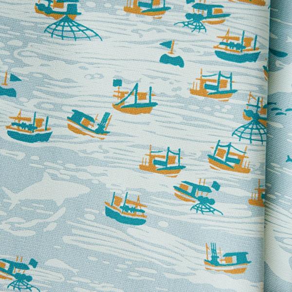 手印棉帆布-250g/y/海的寶物_漁船/淡海藍 布料, 棉帆布, 手作材料