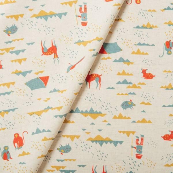 寬幅棉麻布/山中健行/原野紅綠 布料, 棉麻布, 印花布, 手作材料