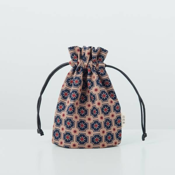 束口小物袋/老磁磚2號/古董藍褐 束口袋, 收納袋