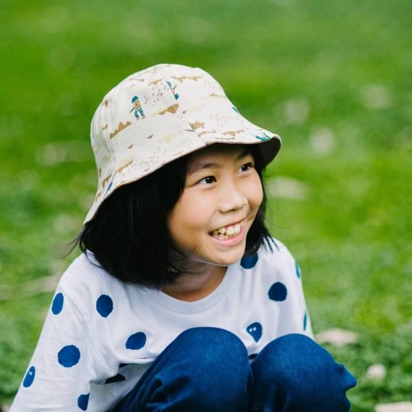 【有機棉】花瓣帽-兒童/山中健行/風土黃褐 遮陽帽, 花瓣帽