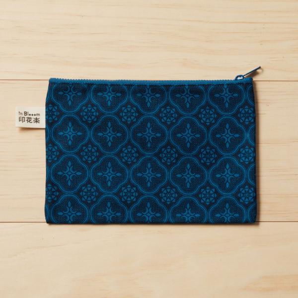 拉鏈文具袋-L14/玻璃海棠/宅邸深藍 筆袋, 收納包, 文具袋, 化妝包, 盥洗包