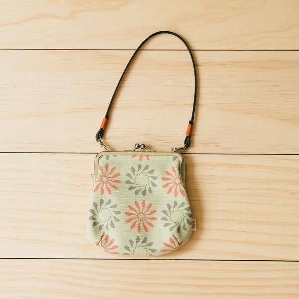 口金葫蘆錢包附皮革小帶/烏秋圈圈/春捲紅綠 口金包, 皮包, 錢包