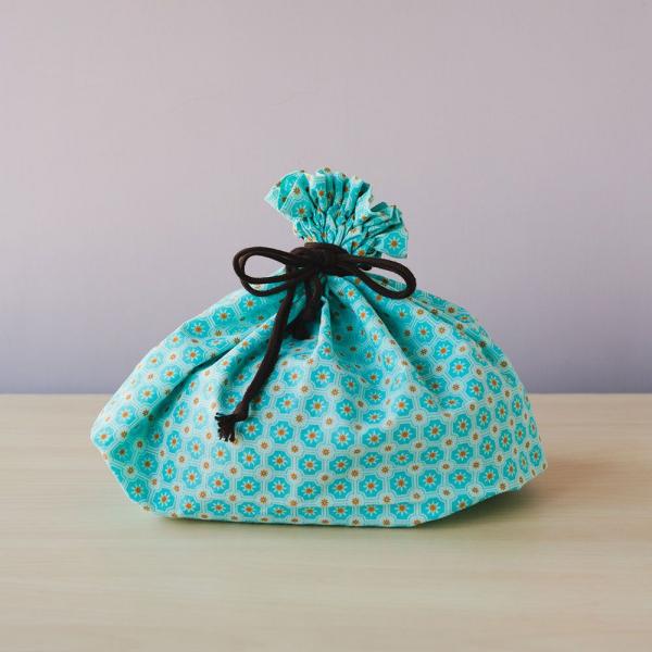束口旅行衣物袋-L/老磁磚2號/汽水碧藍 旅行衣物袋