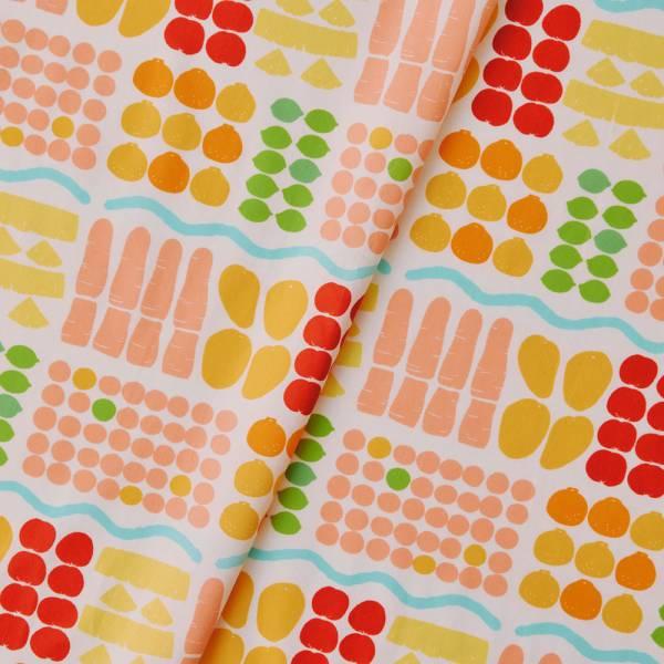 寬幅平織印花棉布(數位)/老派冰果室/牛奶白 戀夏冰果室 ,冰果室 ,復古印花,布料