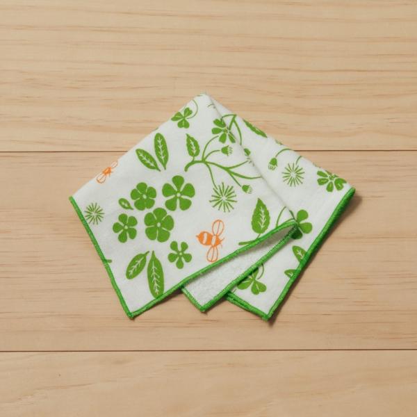 紗布方塊巾/野花草與蜜蜂/青草綠 純棉手帕, 紗布手帕