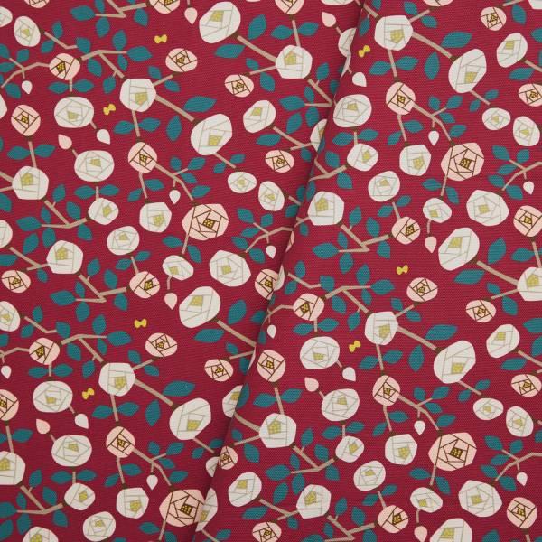 寬幅印花布8N/藝術家聯名/印花樂 x 米力/玫瑰花紅色 布料, 棉帆布, 手作材料