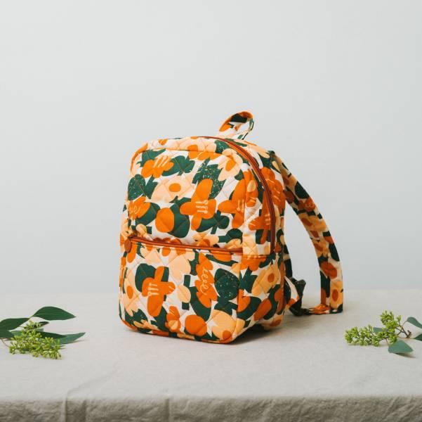 鋪棉後揹包/藝術家聯名/印花樂 x UULIN/荷包蛋花朵/橘色 2019,背包