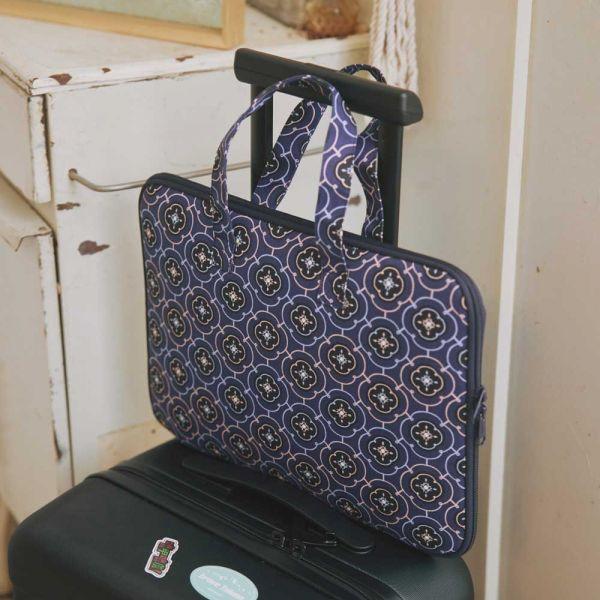 13吋筆電收納包-差旅款/玻璃海棠3號/典雅藍