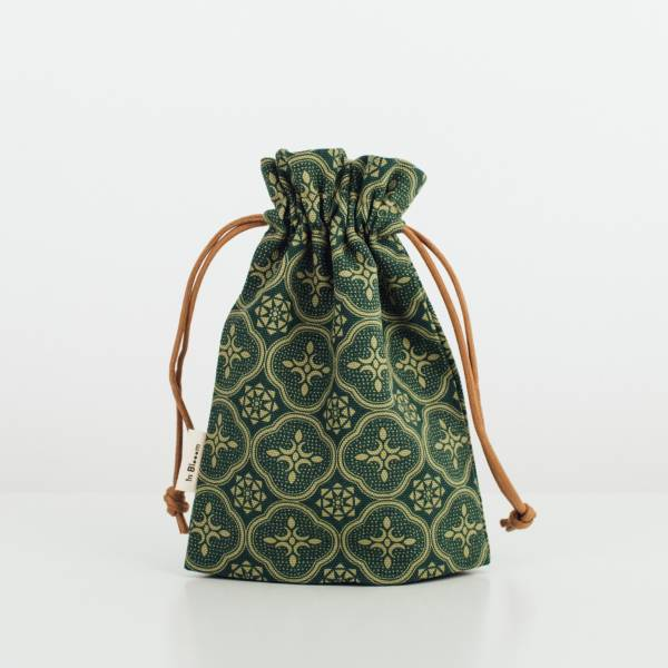 束口小物袋/玻璃海棠/古董草綠 束口袋, 收納袋