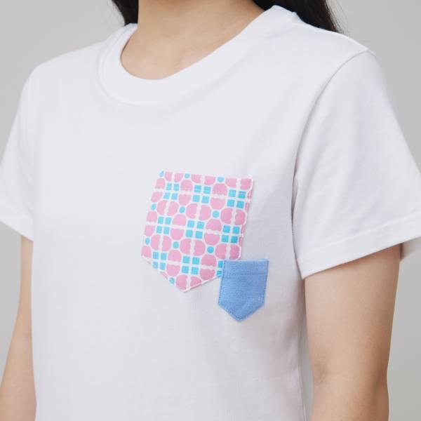 印花口袋棉T/老磁磚4號/白/粉藍