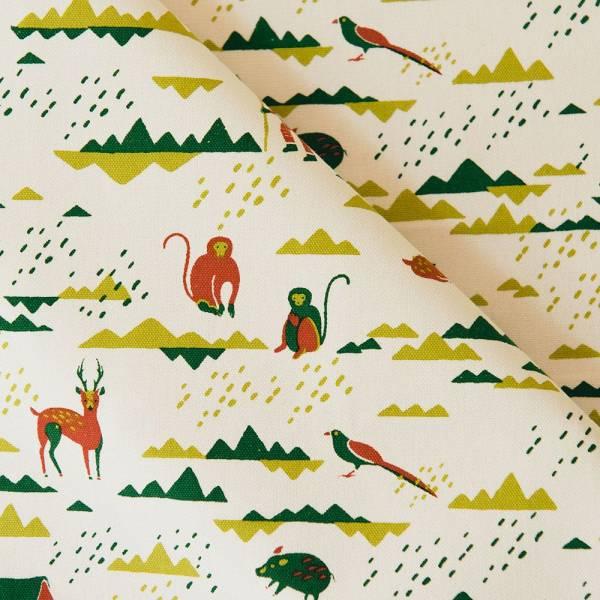 手印棉帆布_滿花-250g/y/山中健行/清新紅綠 布料, 棉帆布, 手作材料