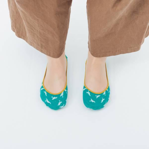 緹花淺口隱形襪/台灣八哥4號/泳池藍綠 襪子, 隱形襪, 緹花襪