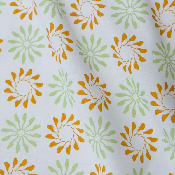寬幅平織印花棉布/烏秋圈圈/自然褐綠 布料, 棉布, 手作材料