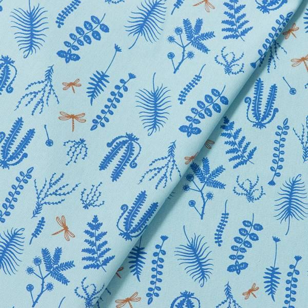 手印棉帆布-寬幅500g/y/野花草與蜻蜓/水波藍色 布料, 棉帆布