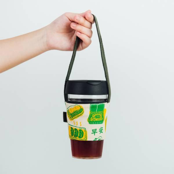 飲料杯吸管提帶/雜花/台灣早餐綠色 飲料提袋