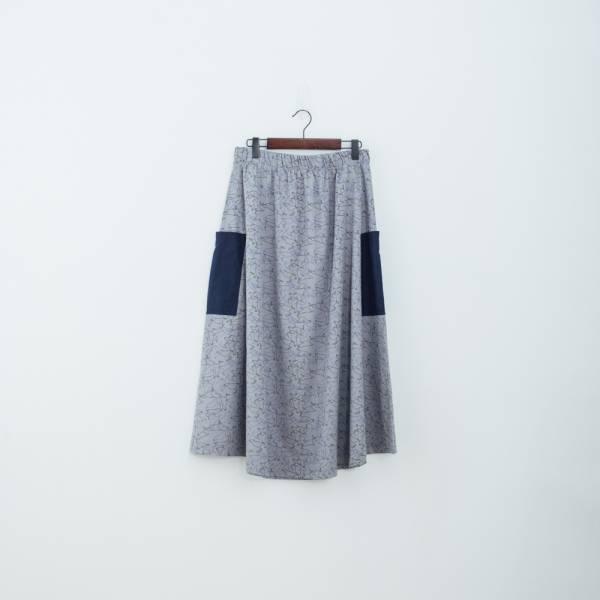 拼接口袋傘裙/台灣八哥/灰藍黑 裙子,拼接,花裙,印花布料,長裙
