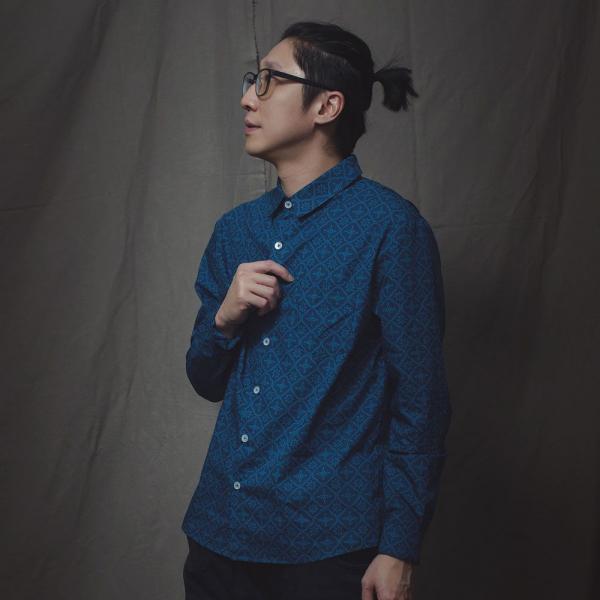 長袖襯衫-男款F/玻璃海棠/宅邸深藍 襯衫, 長袖襯衫