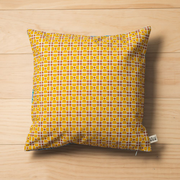 雙面抱枕套/老磁磚4號/古著藍紫+復古黃褐 抱枕套
