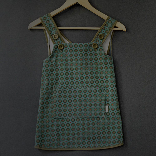 兒童圍裙-110/老磁磚2號/海藻藍綠 圍裙