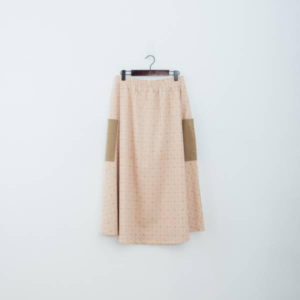 拼接口袋傘裙/玻璃海棠/麻黃紅褐 裙子,拼接,花裙,印花布料,長裙