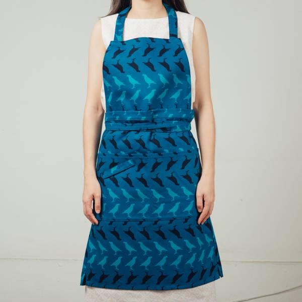 全身/半身兩用圍裙/台灣八哥5號/湖心藍色 2019,圍裙,工作裙,餐廚,台灣八哥