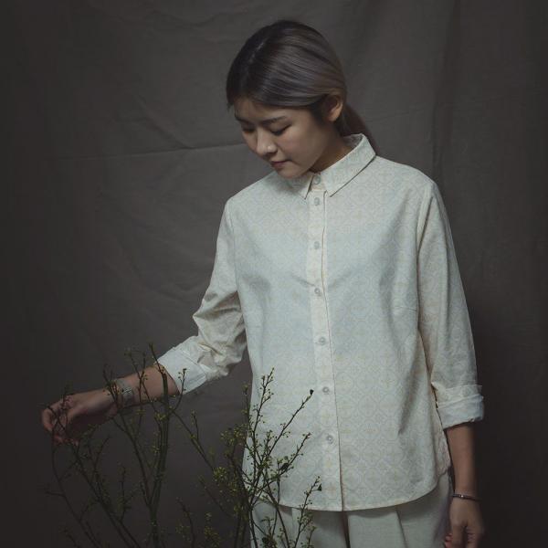 長袖襯衫-女款/玻璃海棠/杏仁淺褐 襯衫, 長袖襯衫